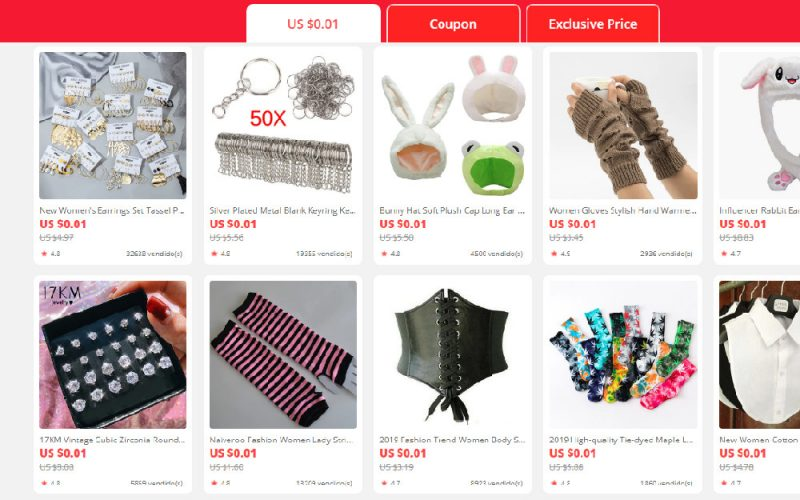 Imagem de AliExpress has 1 cent products for new users